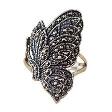 Vintage 925 Sterling Silver Butterfly Ring with ... - Amazon.com