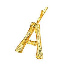 FOCALOOK <b>Hair Accessories Letter</b> Initial A <b>Hair Pins</b> 18k Gold ...