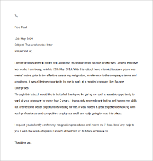two weeks notice letter      download free documents in wordformal two week notice letter free download in word