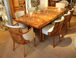 a grand example of an art deco dining table and matching dining chairs from the 1930s art deco replica furniture