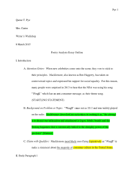 sample analysis essay outline