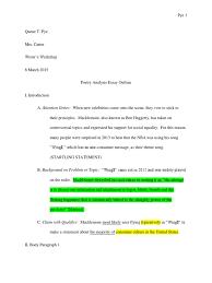 sample analysis essay outline