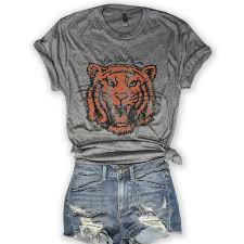 Go Get Em Tiger ... 80's Retro Unisex Grey <b>Triblend Graphic Tee</b> ...