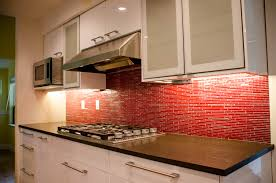 modern false red brick backsplash kitchen design with lighting under white cabinet with stainless steel handle door for tiny and narrow kitchen spaces ideas cabinet lighting backsplash home design