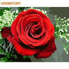 CHENISTORY Frame <b>Rose Flower DIY Painting</b> By Numbers Acrylic ...