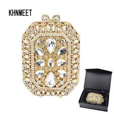 <b>Gold</b> Stone Fashion diamante <b>Luxury Crystal</b> Evening Bag <b>Designer</b> ...
