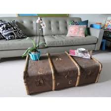 room vintage chest coffee table: brown vintage shabby chic steamer trunk chest coffee table