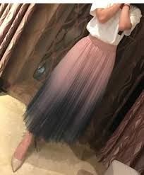 Gogoyouth Long Tulle <b>Skirt</b> Women 2019 Spring Summer <b>Gradient</b> ...