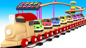 <b>Wooden Toy</b> Train Transport <b>Cartoon</b> Cars 3D - Learning Colors for ...