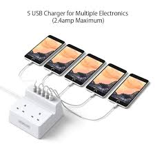 <b>2 Way</b> Extension Lead with 5 USB Sockets Switched Power Strip ...