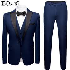 High Quality Navy Wedding Men Suit Peaked Collar <b>One Button 3</b> ...