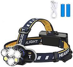 <b>Rechargeable</b> headlamp, Elmchee 6 <b>LED</b> 8 Modes 18650 USB ...