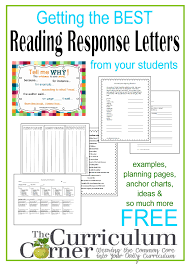 reading response letters the curriculum corner  getting started reading response letter writing in your classroom resources from the curriculum