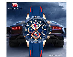 <b>Mini Focus</b> 2019 Man Fashion Watch Blue <b>Rose Gold</b> Rubber Strap ...