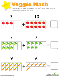 Kindergarten Addition Worksheets & Free Printables | Education.comWorksheet. Addition: Veggie Math