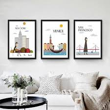 Nordic <b>City</b> Landscape Posters New York Paris London Canvas ...