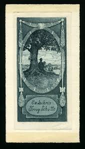 Ex Libris Tony Schütte. Unter Baum sitzendes Paar in hochovaler Rahmung. [nach diesem Titel suchen]. [1905]. 140 x 68 mm, Radierung - 4885148