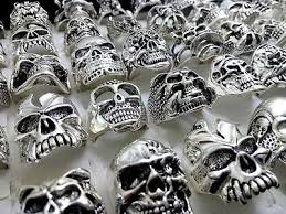 100 silver Skull ring punk alloy <b>metal men's</b> women rings <b>wholesale</b> ...
