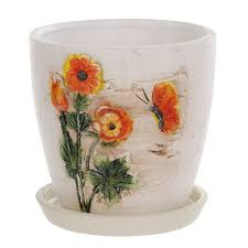 <b>Горшок цветочный</b> с поддоном <b>Dehua ceramic</b>, дизайн весна ...