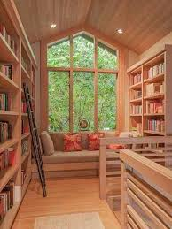 rooms home libraries bookcases bookshelves natural wood library nook built off loft built home library