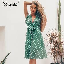 Simplee Sexy V neck polka dot green <b>summer dress women 2019</b> ...