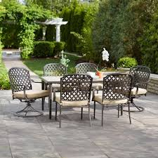patio dining: marysville  piece patio dining set with beige cushions