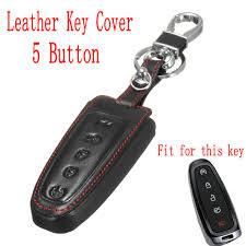 5 Button Leather Auto <b>Keys Fob Shell Car</b> Key Case Cover for Ford ...