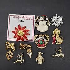 mamas estate vintage to modern <b>christmas theme brooch pin</b> lot ...