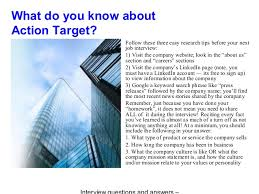 Action target interview questions and answers