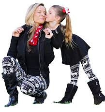 Mommy and Me <b>Christmas Snowflake Elk Print</b> Stretchy Leggings ...
