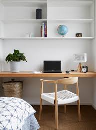 700 haus trentham mid sized scandinavian home office idea in melbourne with white walls and carpet built in desks for home office