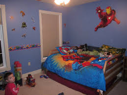 cool boys bedroom ideas with superhero bedroom decor enchanting wall decals on blue wall deat spider man themed bed cover blue themed boy kids bedroom