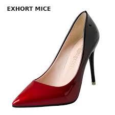 <b>size 34 42 2019</b> Women pumps Fashion pointed toe patent leather ...
