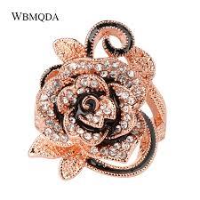 Luxury Crystal Rose Gold Flower Ring <b>Vintage Big Wedding Rings</b> ...