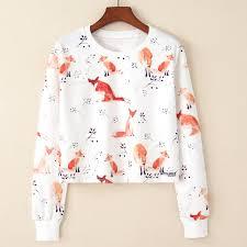 <b>Spring Autumn</b> New European Fox and Branches Print T shirts ...