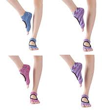 Coofit 4 Pairs Grip Socks <b>Fashion</b> Non-slip <b>Breathable Cotton</b> Yoga ...