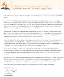 Letter Of De Membership Of The Seventh Day Adventist Church
