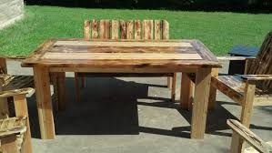 wooden patio table metal