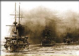 「1905年日本海軍聯合艦隊とロシア海軍バルチック艦隊との日本海海戦」の画像検索結果