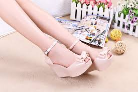 <b>MIUBU</b> Wedges <b>female</b> sandals <b>color</b> jelly shoes bow platform open ...