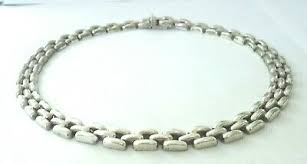 925 Sterling <b>Silver</b> Necklace Italy Panther <b>Link Chain Vintage</b> 16 ...