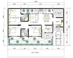 denah rumah 1 lantai dengan 3 kamar tidur: Denah rumah minimalis 1 lantai 3 kamar tidur garasi model