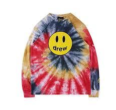 YoXian Drew House Tie Dye Smiley <b>Print Casual</b> Crewneck ...
