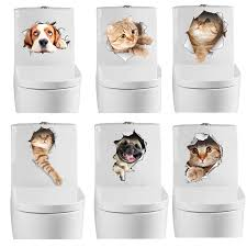 3D <b>Cats</b> Wall <b>Sticker Toilet Stickers</b> Vivid Dogs <b>Bathroom Home</b> ...