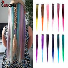 <b>Leeons</b> Clip In One Pieces Hair Extensions Straight Ombre <b>Purple</b> ...