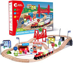 CUTE STONE 63 Pcs Wooden Train Set for Toddlers ... - Amazon.com