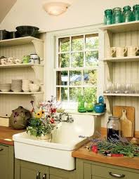open kitchen design farmhouse: open shelving works extremely well on farmhouse kitchens because there are usually a lot of cool
