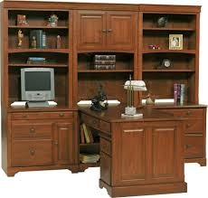 contemporary home furniture ides for home office with brown wooden desk designed with big shelves and storage also drawers complete with rustic white banker big office desks