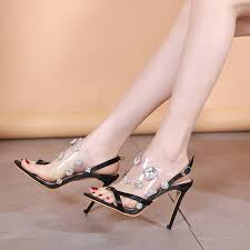 2019 <b>Summer New Style</b> Crystal Sandals Female Fine with High ...
