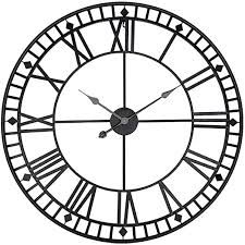 European Style 80cm <b>Metal</b> Round <b>Big Wall</b> Clock <b>Creative</b> Wrought ...